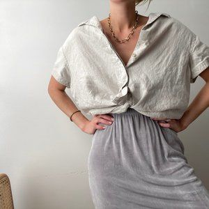 Vintage Linen Relaxed Button Up Top